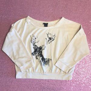 Daytrip Buckle Deer Print Crop Sweatshirt